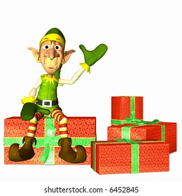 Christmas Elf sitting on a pile of presents