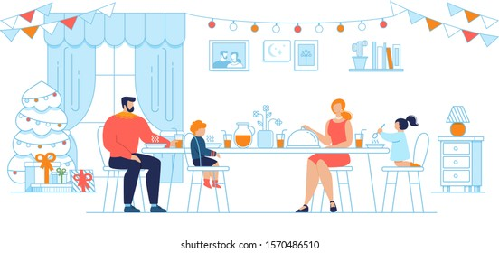 Christmas Eve Family Dinner, New Year Celebration Traditions Trendy Flat Concept. Parents with Little Children Sitting at Holiday Table at Home Living Room, Eating Tasty Dishes Illustration