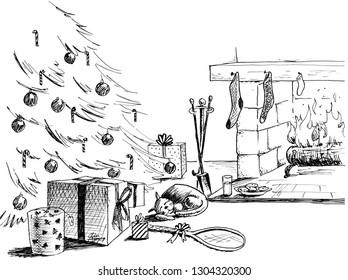 Christmas eve fireplace scene