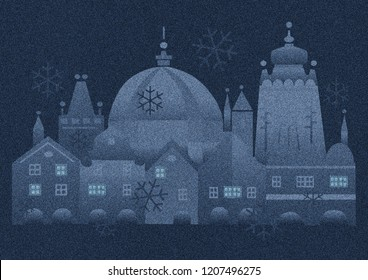 Christmas evening mood in the historic city,snowfall.  Christmas vintage card with the stylized historical bildings from Prague.