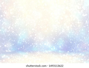 Christmas fantastic room decoration. Snow pattern on soft blur 3d background. Bright light. Wonderful blue yellow flares pattern. Fabolous winter illustration. Holiday empty template.