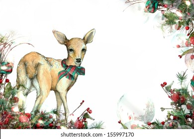 Christmas Fawn Background A Festive Garland Edged Illustration of a Deer