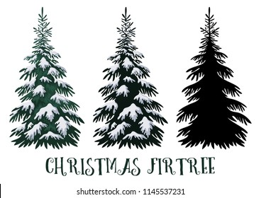 Christmas Fir Tree, Green with White Snow and Black Silhouette Isolated on White Backgrounds.