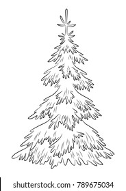 Christmas Fir Trees, Symbolical Pictogram, Black Contours Isolated on White Background.