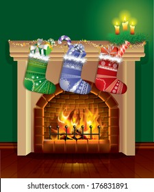 Christmas fireplace with gifts