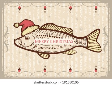 Christmas fish in Santa red hat.Vintage drawing card on old texture for New Year.Raster