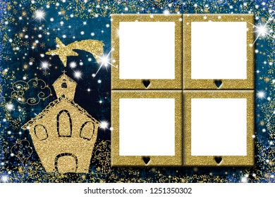 Christmas four photo frames greeting card. Golden glitter tree freehand church and star drawn with golden glitter and four empty photo frames on blue background.