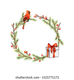Christmas frame with Cardinal bird, fir and Holly berries. Winter card