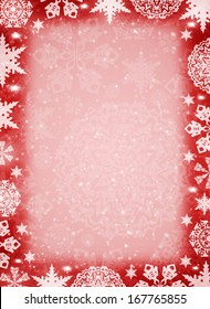 Christmas frame. White snowflakes on the red background