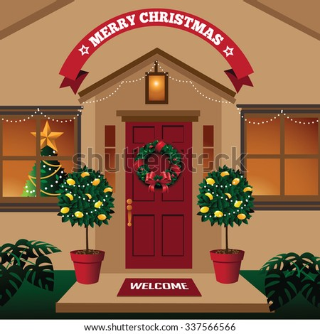 Christmas Front Door Warm Climate Tropical Stock Illustration
