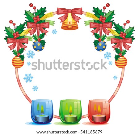 Royalty Free Stock Illustration Of Christmas Garland Lighted Candle