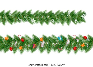 Christmas Garland. Merry Christmas and Happy New Year Design Elements. Resource for Creating Postcards, Calendars or Posters, Presentations or Banners.