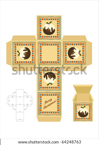 christmas gift box cutout template assembly stock illustration