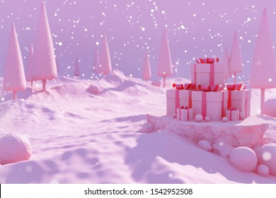 Christmas gift box and new year template background. snow town landscape tree platform pink sky decoration winter theme time display snowballs hill cold mountain celebration holiday. 3d illustration.