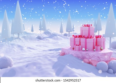 Christmas gift box and new year template background. snow town landscape tree platform blue sky decoration winter theme time display snowballs hill cold mountain celebration holiday. 3d illustration.