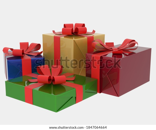 Christmas gift boxes isolated on grey background. 3d rendering - illustration