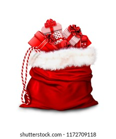 Christmas gifts: in a large red bag are gifts from Santa Claus. Presented on a white background. 3D-visualization