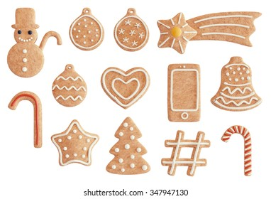 Christmas gingerbread cookies in multiple shapes isolated on white.
