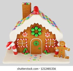 Christmas Gingerbread house in snow. 3d rendering