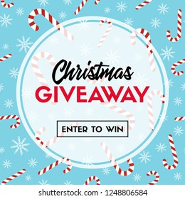 Christmas giveaway. Enter to win. Template with candy cane patterns for online holiday contest. Raster version