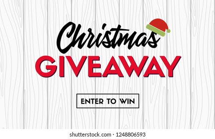Christmas giveaway. Promo template for social media contest. Raster version