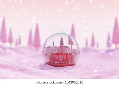 Christmas glass ball gift box and new year template background. snow town landscape tree platform pink sky decoration winter theme time display hill cold mountain celebration holiday. 3d illustration.