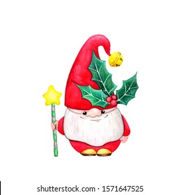 Christmas gnome (dwarf) with a sprig of Holly on his hat. Watercolor hand draw illustration, isolated on a white background. Christmas cartoon elf.