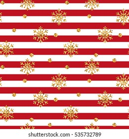 Christmas gold snowflake seamless pattern. Golden glitter snowflakes on red and white lines background. Winter snow design wallpaper. Symbol holiday, New Year celebration illustration