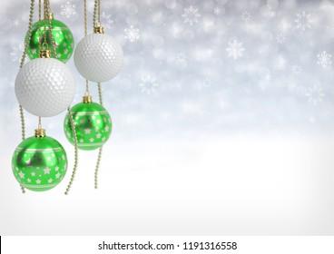 christmas and golf balls on bokeh background. 3D illustration
