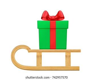 Christmas green classic gift box (present) with red ribbon and bow on wooden sled (side view). New Year or Christmas winter holiday concept. 3d rendering illustration