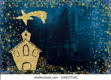 Christmas greeting card. Child's drawing of a church with the star of Bethlehem on blue background