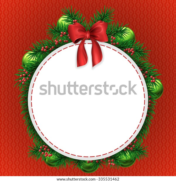 Christmas greeting card with evergreen tree decorations with red bow and circle white copyspace on red textured background
