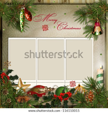 Christmas Greeting Card Frames Family Stock Illustration 116110015 ...