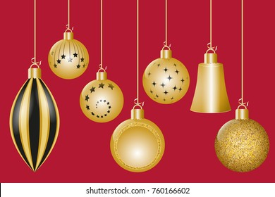 Christmas greeting card. Golden christmas decorations