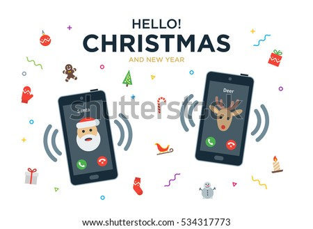Christmas greeting card phone call santa stock illustration christmas greeting card with phone call from santa claus and reindeer m4hsunfo