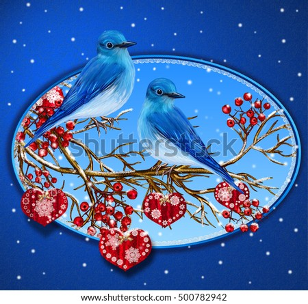 Christmas Greeting Card Two Blue Birds Stock Illustration Royalty