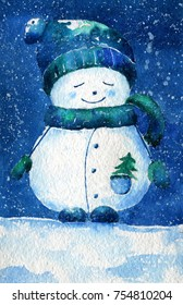 Christmas greeting card. Watercolor illustration