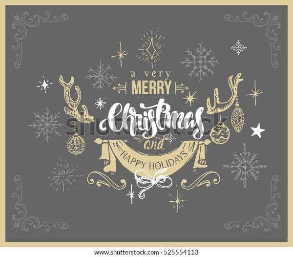 christmas greeting with lettering