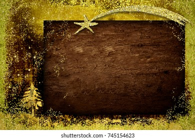 Christmas greetings cards, abstract freehand drawing of fir tree with golden glitter and wooden board with blank.