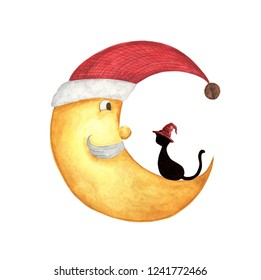Christmas half moon face with black cat. Half moon in a red santa hat, bearded old man, isolated on white background. Watercolor illustration.