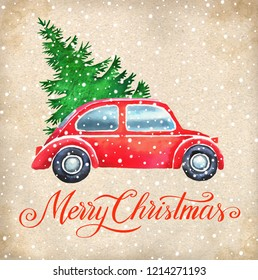 Christmas hand paint watercolor illustration with  christmas tree, vintage car and snow. Background for christmas greeting card, invitation.