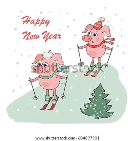 Christmas Happy New Year Card Two Stock Illustration 604897901 ...