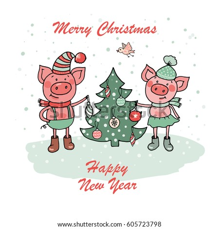 christmas and happy new year card with two small cartoon little pigs decorate a xmas tree