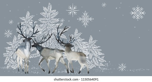 Christmas happy new year design. reindeer silhouette. Watercolor winter forest with deers