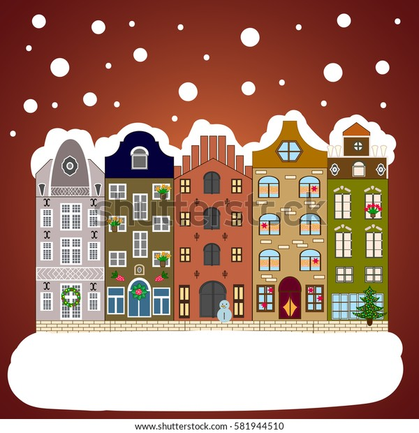Christmas and Happy New Year greeting card. Flat. Winter house.