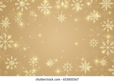 Christmas and Happy New Years illustration background with golden snowflakes