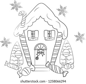 The Christmas Haus - Coloring page - Gingerbread hause