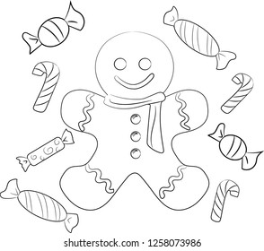 The Christmas Haus - Coloring page - Gingerbread man