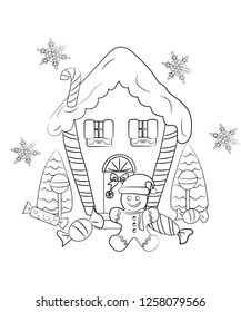 The Christmas Haus - Coloring page - Gingerbread man and gingerbread hause