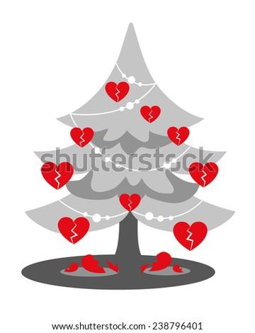 Christmas Heartbreak Gray Christmas Tree Red Stock Illustration